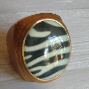 Vintage Brassy Zebra Statement Ring